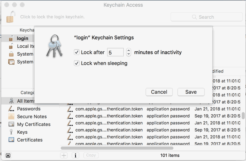 Keychain Access App Preferences in Mac High Sierra